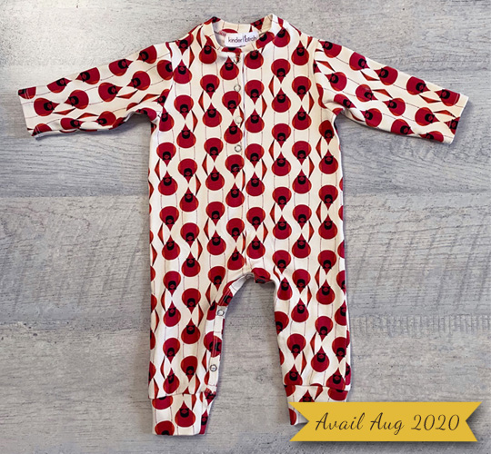 Long Sleeve Knit Button Up Baby Romper Cardinal Stagger